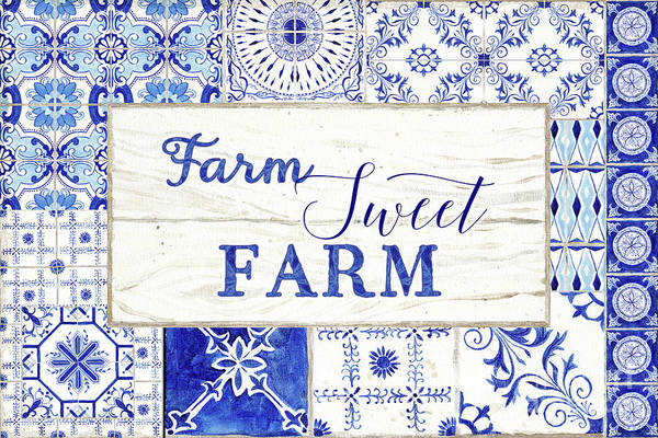 Painting - Farmhouse Blue And White Tile 5 - Farm Sweet Farm by Audrey Jeanne Roberts