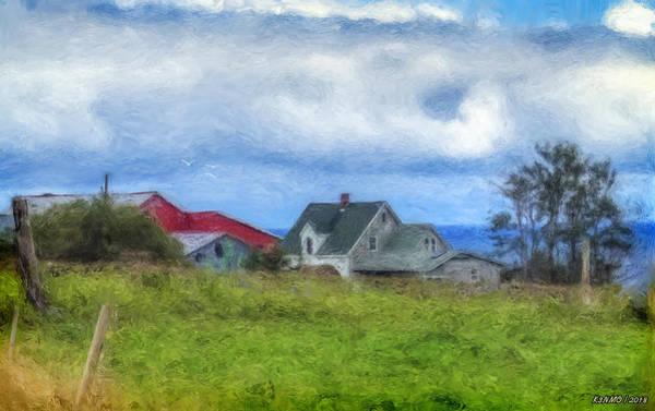 Fence Post Digital Art - Farmhouse By The Sea by Ken Morris