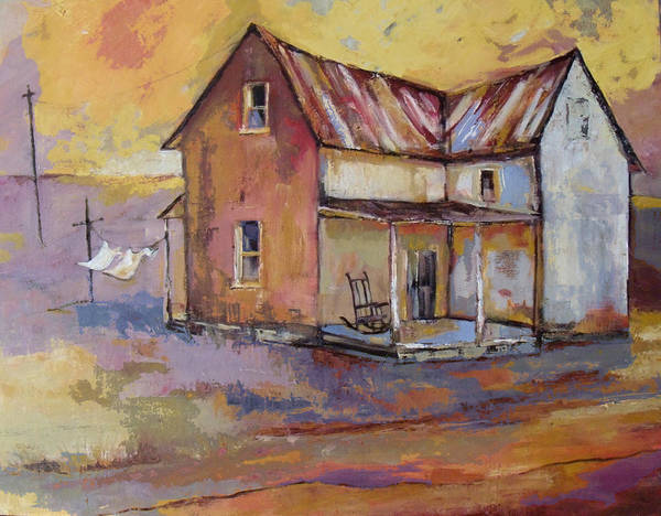 Clothesline Painting - Farmhouse With Laundry by Peggy Wilson