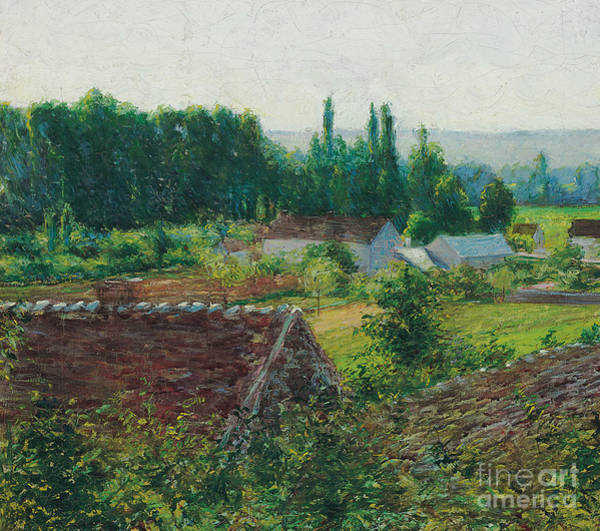 Farmstead Painting - Farmhouses In Giverny by John Leslie Breck