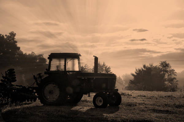 Wall Art - Photograph - Farming Good Morning John Deere Sepia by Thomas Woolworth