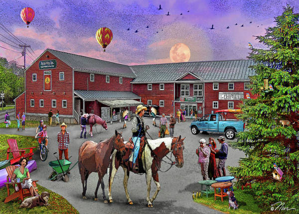 Horse Shoe Digital Art - Farmway In Bradford Vermont Summer by Nancy Griswold