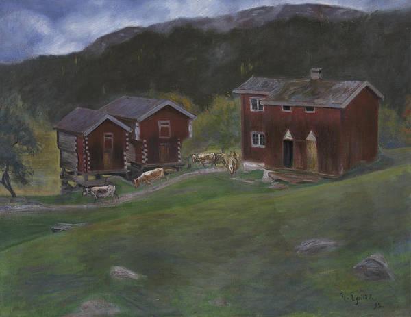 Painting - Farmyard At Ase In Telemarken, Norway by Halfdan Egedius