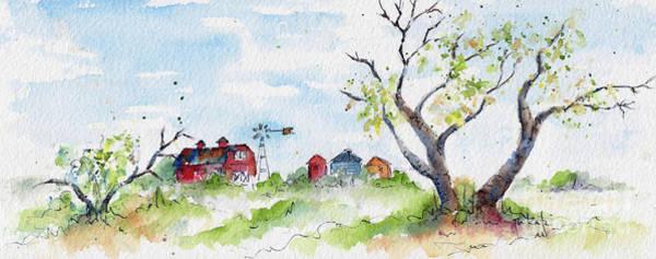 Painting - Farmyard From Afar by Pat Katz