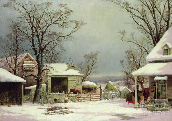 Farmstead Painting - Farmyard In Winter, 1862 by George Durrie