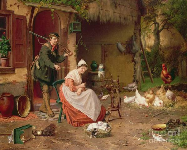 1900 Wall Art - Painting - Farmyard Scene by Jan David Cole