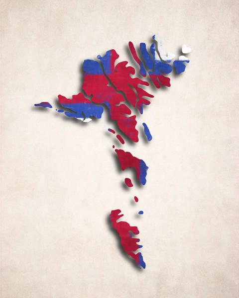 Wall Art - Digital Art - Faroe Islands Map Art With Flag Design by World Art Prints And Designs