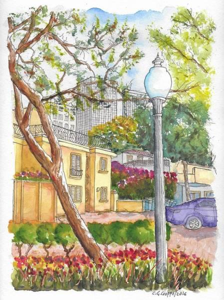 Roxbury Wall Art - Painting - Farola In Roxbury Park, Beverly Hills, California by Carlos G Groppa