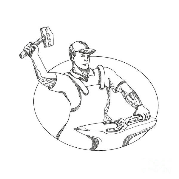 Horseshoe Digital Art - Farrier Wielding Hammer Oval Doodle Art by Aloysius Patrimonio