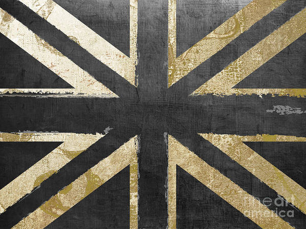 Gold Painting - Fashion Flag United Kingdom by Mindy Sommers