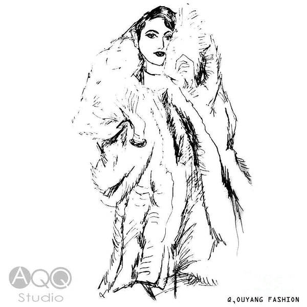 Painting - Fashion Lady In Fur Coat by QQ Ouyang