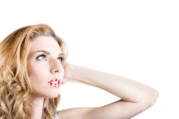 Lips Photograph - Fashion Woman With Beautiful Stripe Makeup Lips by Jorgo Photography - Wall Art Gallery