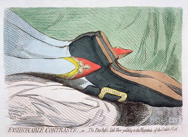 Entwine Wall Art - Painting - Fashionable Contrasts by James Gillray
