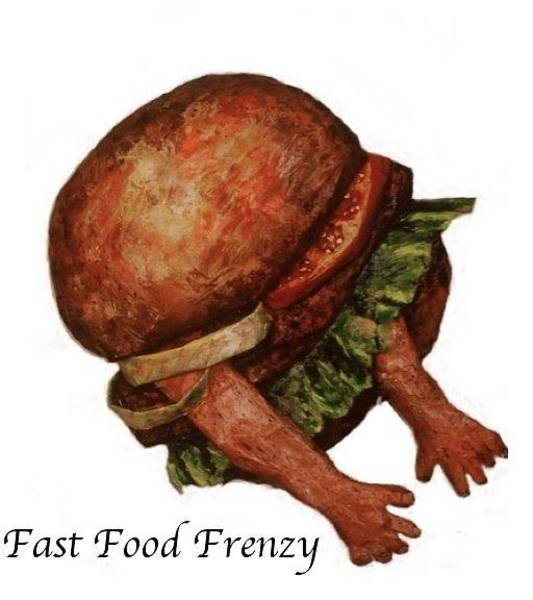 Eating Mixed Media - Fast Food Frenzy by Betty OHare