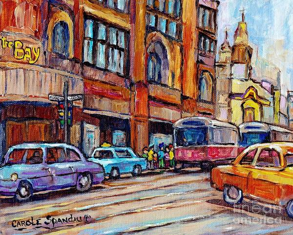 Painting -  Tram Streetcars At The Bay Downtown Montreal Vintage Paintings For Sale C Spandau City Scene Artist by Carole Spandau