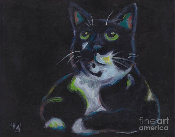 Fat Cat Painting - Fat Black Cat by Robin Wiesneth