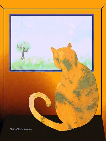 Digital Art - Fat Cat At Her Window by Kae Cheatham