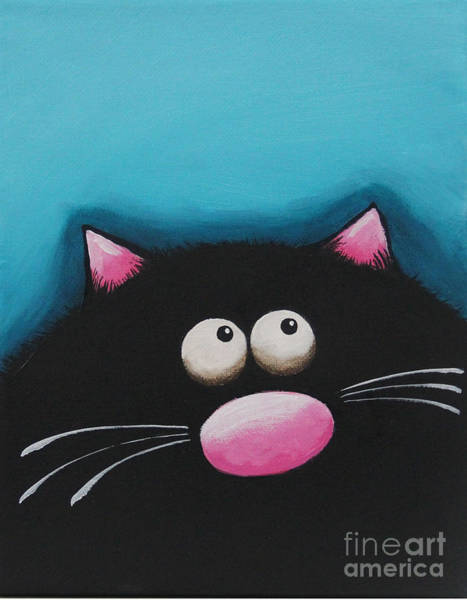 Fat Cat Painting - Fat Cat In Blue by Lucia Stewart