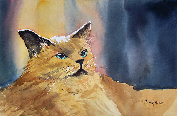 Tan Cat Wall Art - Painting - Fat Cat by Ryan Radke