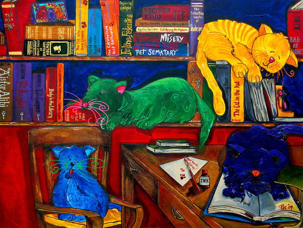 Fat Cat Painting - Fat Cats In The Library by Patti Schermerhorn