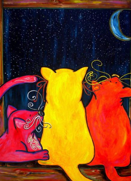 Fat Cat Painting - Fat Cats Star Gazing by Patti Schermerhorn