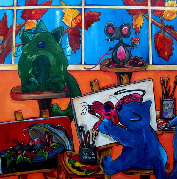 Fat Cat Painting - Fat Cats Take Over My Art Studio by Patti Schermerhorn