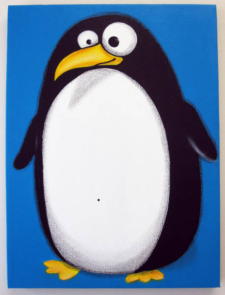 Morea Wall Art - Painting - fAT pENGUiN by Mara Morea