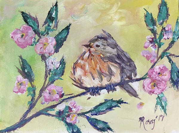 Yellow Painting - Fat Robin Chick In A Cherry Tree by Roxy Rich