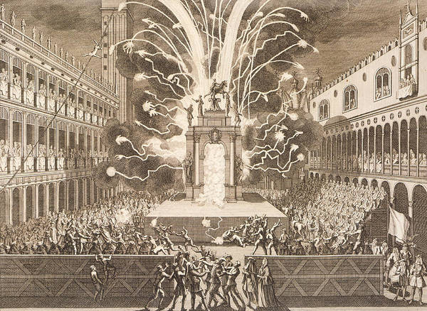 Fireworks Drawing - Fat Thursday In St Mark's Square In Venice, 1757 by Italian School
