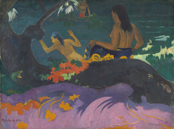 Wall Art - Painting - Fatata Te Miti - By The Sea by Paul Gauguin