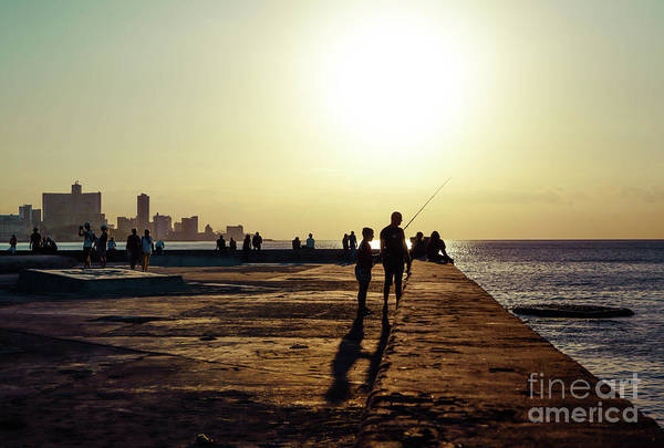 Wall Art - Photograph - Father And Son Fishing At Sunset by DAC Photo