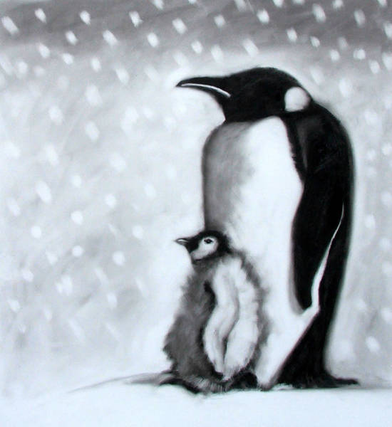 Penguin Painting - Father And Son by Paul Powis