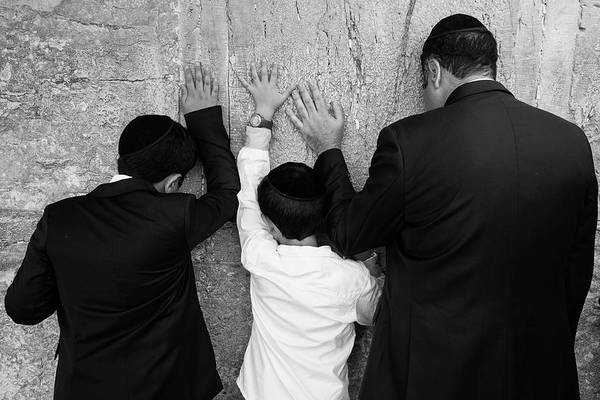 Jewish Homeland Photograph - Father And Son Pray To God by Yoel Koskas