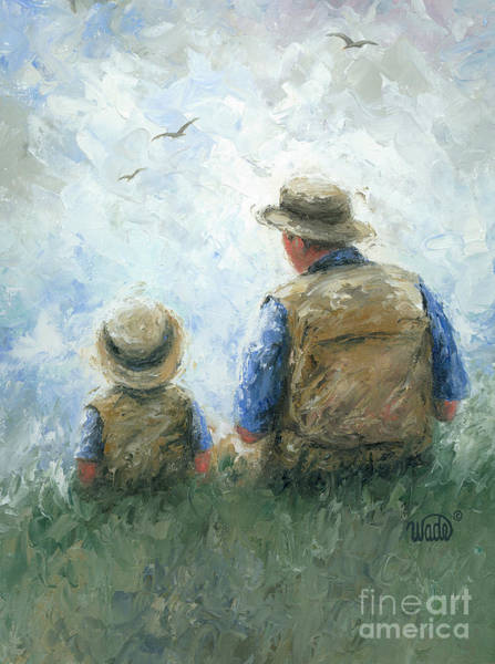Wall Art - Painting - Father And Son Talk by Vickie Wade