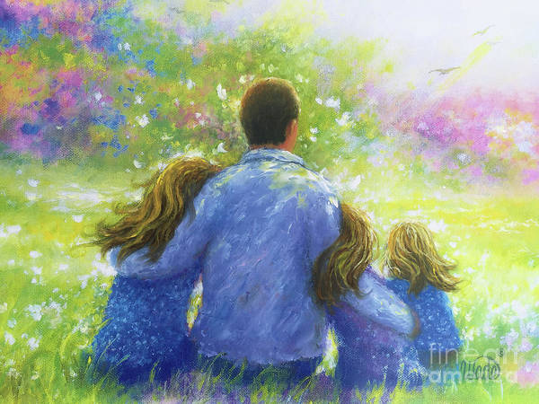 Wall Art - Painting - Father And Three Blonde Daughters In Garden by Vickie Wade