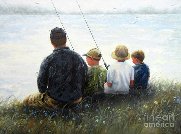 Wall Art - Painting - Father And Three Sons Fishing by Vickie Wade