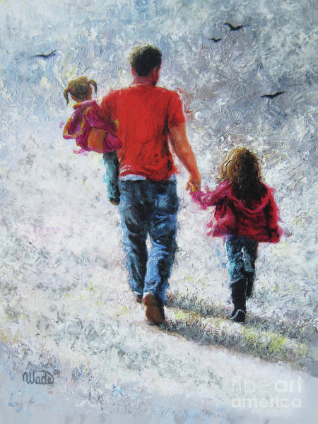 Wall Art - Painting - Father And Two Daughters Walking					 by Vickie Wade