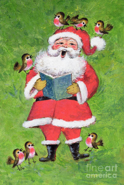 Wall Art - Painting - Father Christmas And Robin Chorus by Stanley Cooke