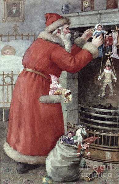 Presents Painting - Father Christmas by Karl Roger