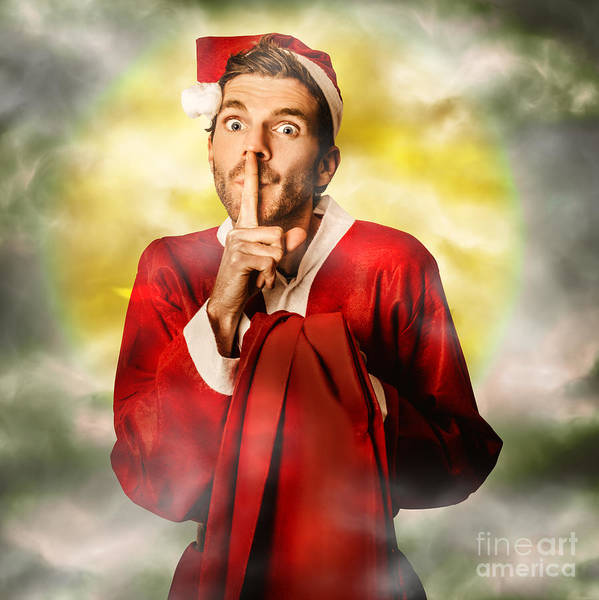 Sneak Photograph - Father Christmas With Surprise Delivery by Jorgo Photography - Wall Art Gallery