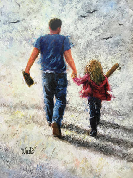 Wall Art - Painting - Father Daughter Baseball Practice by Vickie Wade