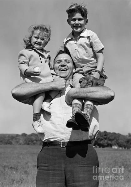 Fathers Day Photograph - Father Holding Children, C.1930s by H. Armstrong Roberts/ClassicStock
