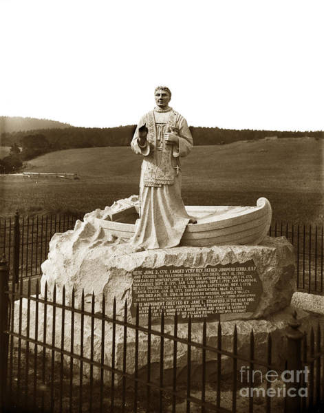 Photograph - Father Junipero  Serra, Granite Monument. Monterey Presidio 1891 by California Views Archives Mr Pat Hathaway Archives