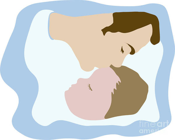 Digital Art - Father Kissing Sleeping Young Child by Susan Vineyard
