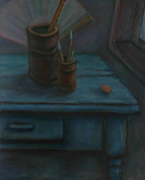 Painting - Father Made Me A Blue Desk - Unfinished Still Life by Xueling Zou