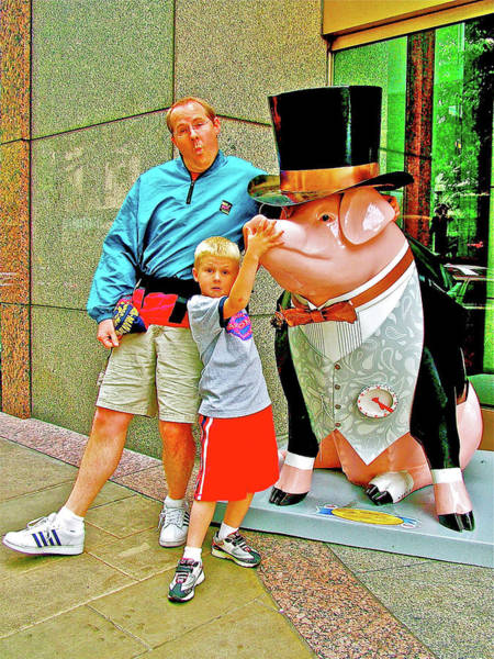 Humor In Art And Photograph - Father, Son And A Pig In Downtown Seattle, Washington, Usa by Ruth Hager