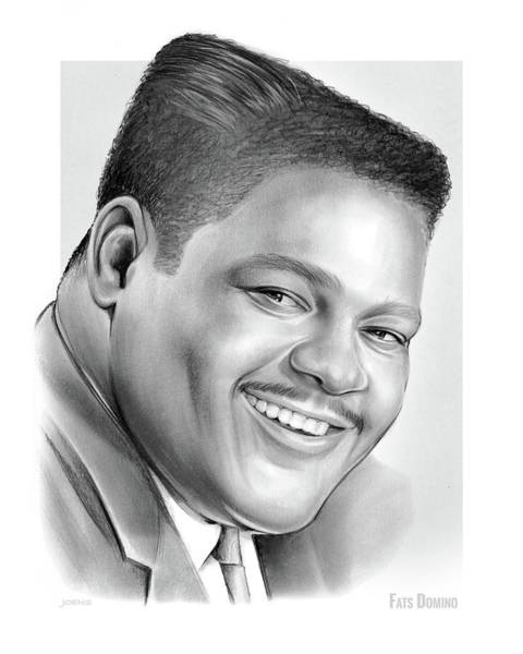 1950s Wall Art - Drawing - Fats Domino by Greg Joens
