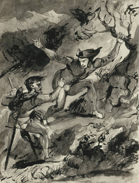 French Artist Drawing - Faust And Mephistopheles On The Blocksberg by Eugene Delacroix