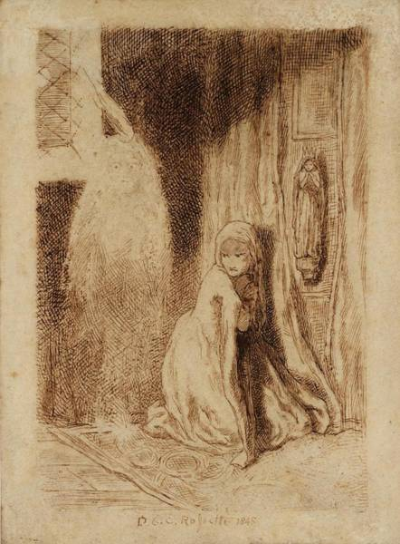 Gabriel Painting - Faust Margaret In The Church by Dante Gabriel