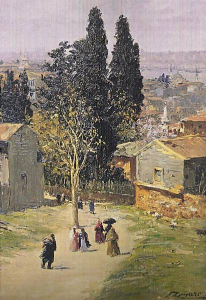 Fausto Zonaro Painting - Fausto Zonaro A Village by Eastern Accents